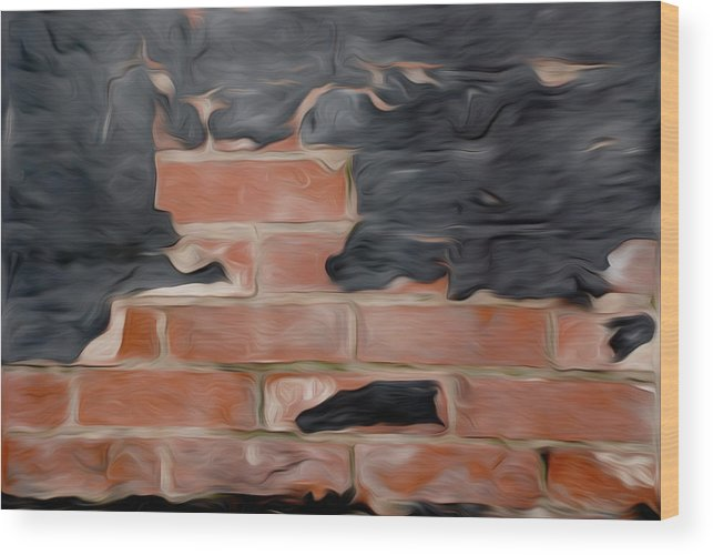 Bricks Wood Print featuring the pyrography Wall Brick by Stefan Petrovici