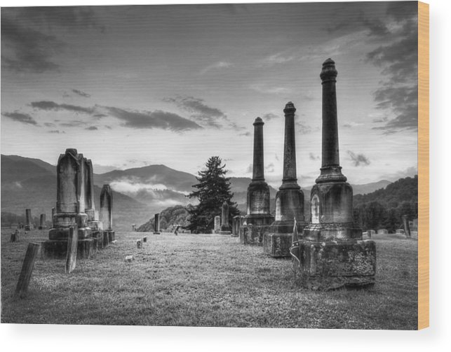 B&w Wood Print featuring the photograph Waynesville Green Hill Cemetery by Craig Burgwardt