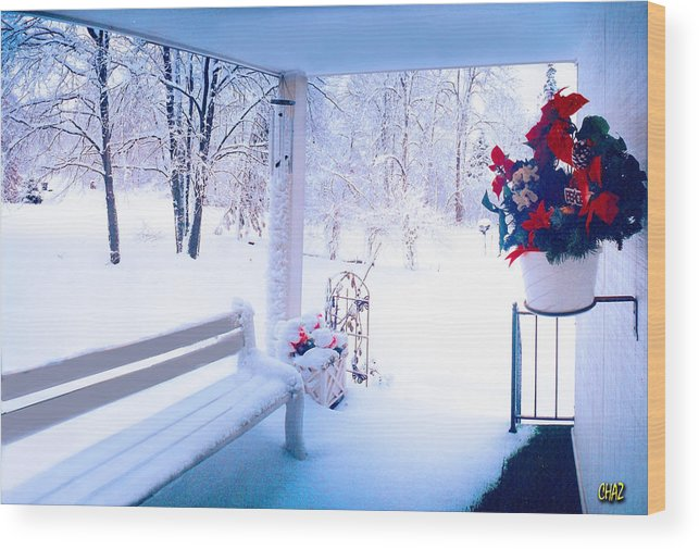 Winter Wood Print featuring the photograph Winter Porch by CHAZ Daugherty