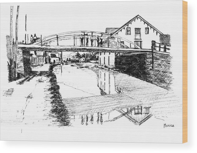 River Wood Print featuring the drawing Canal Ellenville by Monica Cohen