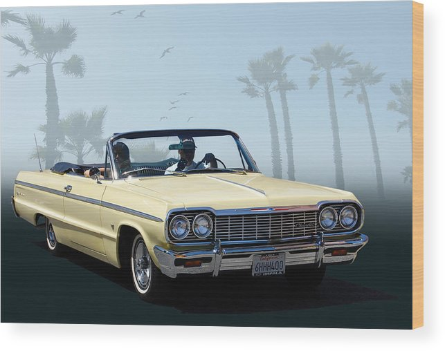 Hot Rod Wood Print Featuring The Photograph 64 Impala By Bill Dutting