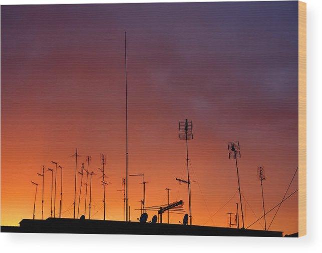 Radio Wood Print featuring the photograph Antennas On Sunset by Matusciac Alexandru