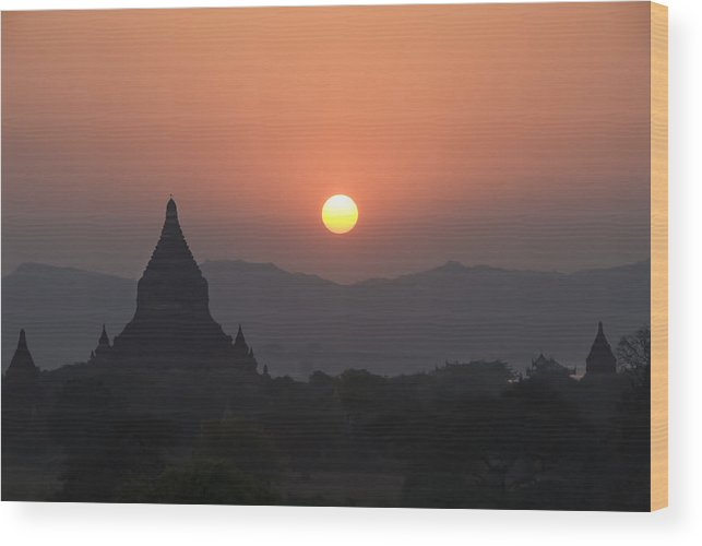 Ancient Wood Print featuring the photograph Bagan Temples At Sunset II by Gloria & Richard Maschmeyer