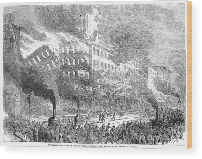 1865 Wood Print featuring the photograph Barnums Museum Fire, 1865 by Granger