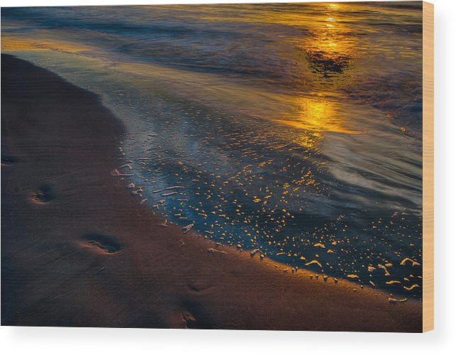 Sunrise Wood Print featuring the photograph Beach Walk - Part 4 by Dennis Dame