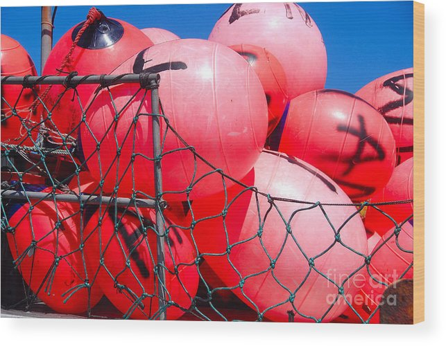 Color Wood Print featuring the photograph Buoys by John Schneider