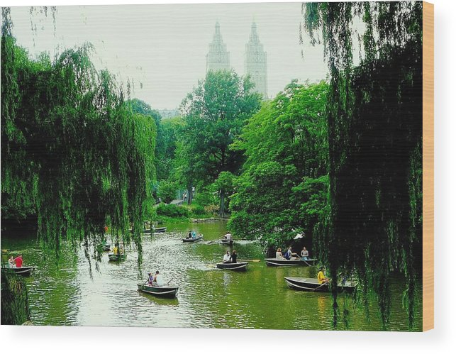 Central Park Wood Print featuring the photograph Central Park Pond by Valentino Visentini