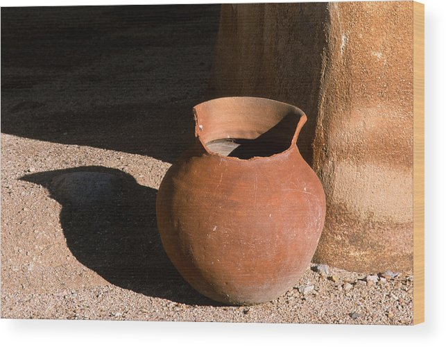Mexican Pottery Wood Print featuring the photograph Clay Pot And Shadow by Sandra Bronstein