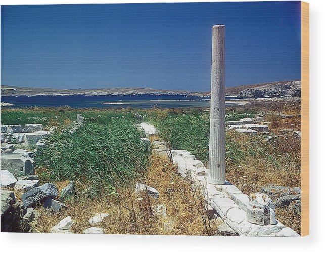 Delos Wood Print featuring the photograph Column In Delos by Andonis Katanos