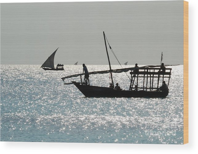 Kendwa Wood Print featuring the photograph Dhows by Alan Clifford