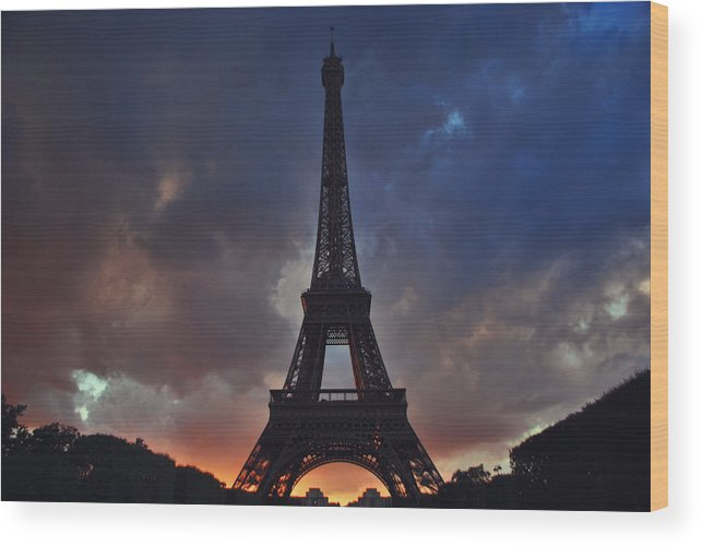 Travel Destinations Wood Print featuring the photograph Eiffel Tower Sunset by Jeff Rose
