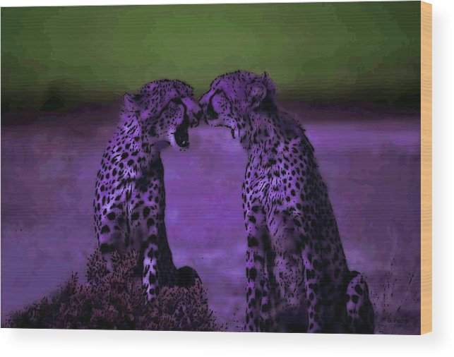 Cheetahs Wood Print featuring the photograph Feelings by George Pedro