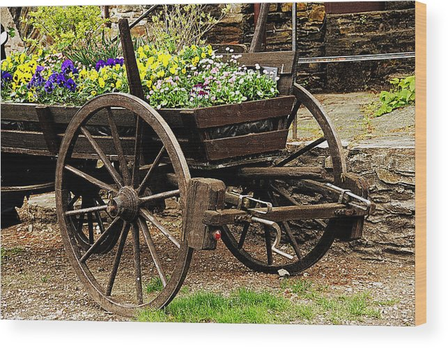 Ancient Wood Print featuring the photograph Flower Cart by Design Windmill
