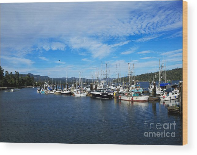 Boats Wood Print featuring the photograph Government Wharf In Sooke Harbour by Louise Heusinkveld