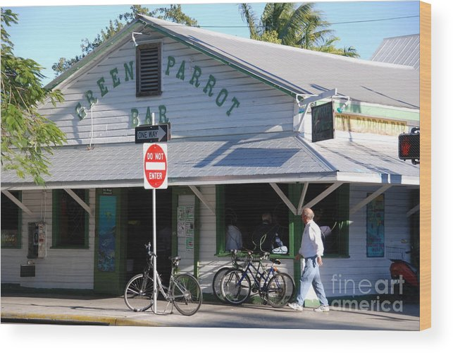 Key West Wood Print featuring the photograph Green Parrot Bar In Key West by Susanne Van Hulst