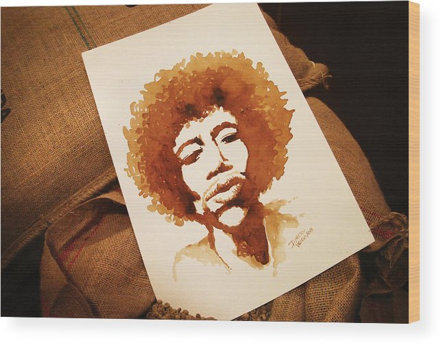 Coffee Wood Print featuring the painting Hendrix Coffee Art Portrait by Dirceu Veiga