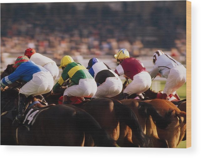 Background People Wood Print featuring the photograph Horse Racing, Phoenix Park, Dublin by The Irish Image Collection