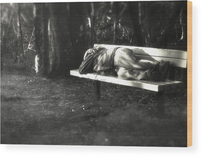 Homeless Wood Print featuring the photograph Just A Shadow Of Former Self by Kelly Rader
