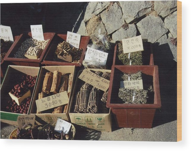 Spices Wood Print featuring the photograph Korean Spice Market by DLynne Warren