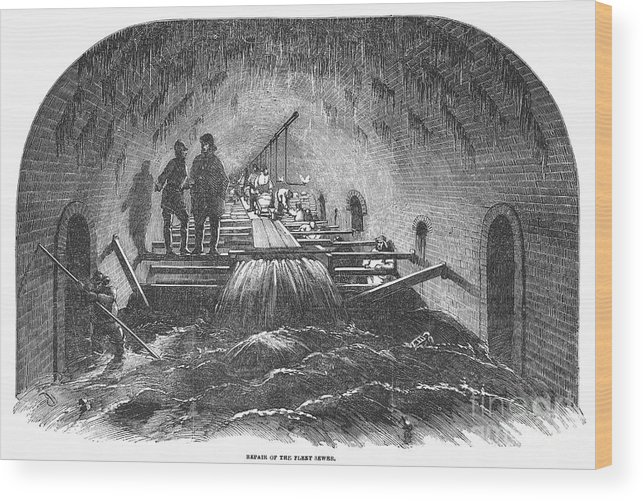 1854 Wood Print featuring the photograph London: Fleet Street Sewer by Granger