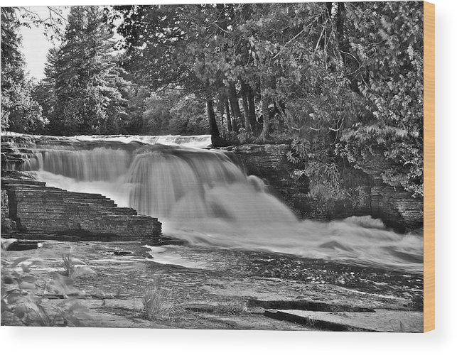 Landscape Wood Print featuring the photograph Lower Tahquamenon Falls 6140b by Michael Peychich