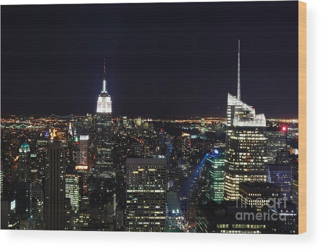 Top Of The Rock Wood Print featuring the photograph New York At Night by Alan Clifford
