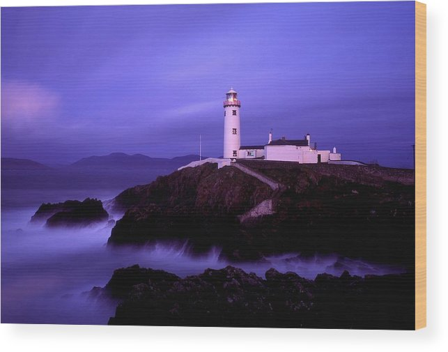 Blue Sky Wood Print featuring the photograph Newcastle, Co Down, Ireland Lighthouse by The Irish Image Collection