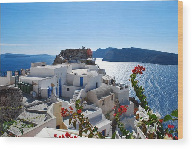 Sun Wood Print featuring the photograph Oia Castle by Jeff Rose