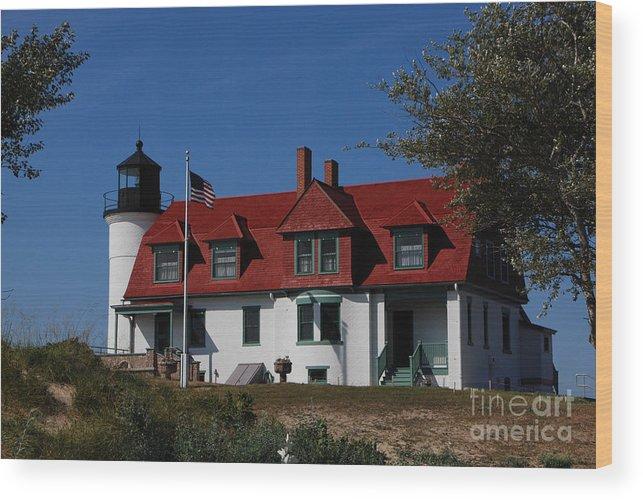 Point Betsie Light Station Wood Print featuring the photograph Point Betsie Light Station by Grace Grogan