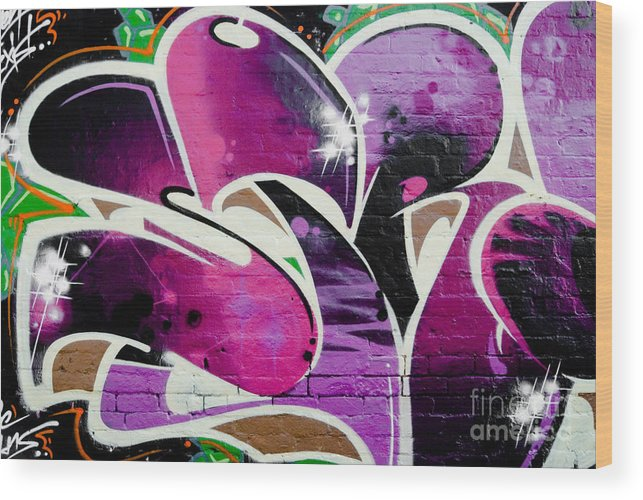 Graffiti Wood Print featuring the painting Purple Abstract Graffiti Detail by Yurix Sardinelly