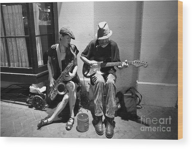 New Orleans Wood Print featuring the photograph Royal Street Music by Leslie Leda