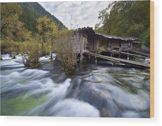 Landscape Wood Print featuring the photograph Rushing by Ng Hock How