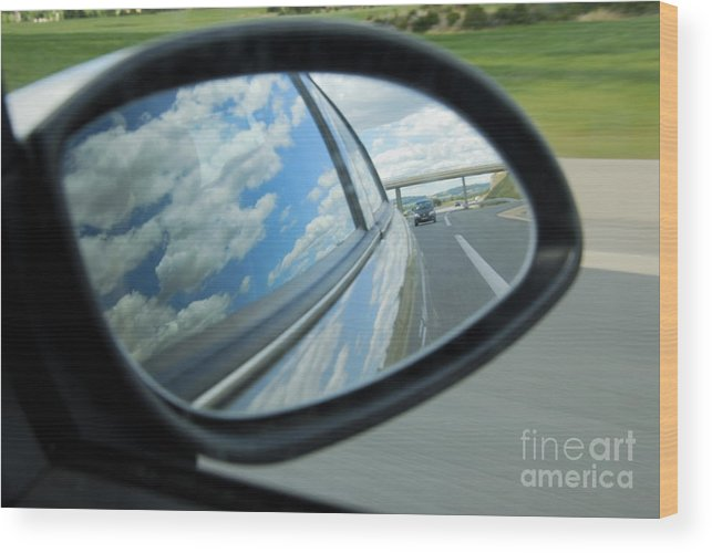 Motion Wood Print featuring the photograph Side-view Mirror Reflecting Clouds by Sami Sarkis