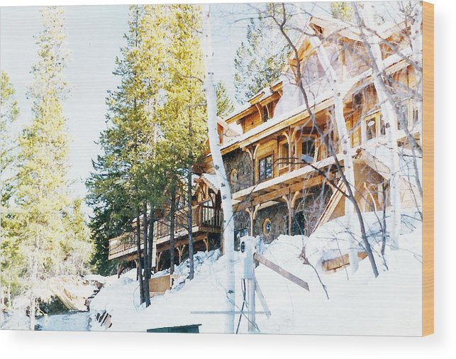 Snow Wood Print featuring the pyrography Snow Lodge by Karen Chappell