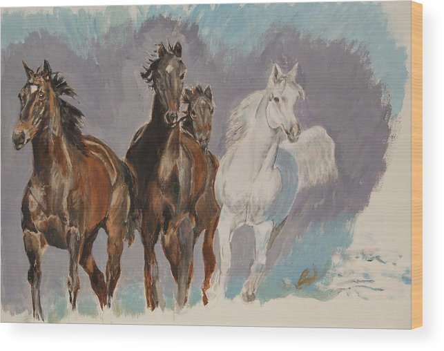 Wild Horses Wood Print featuring the painting Spooked by Belinda Wroe