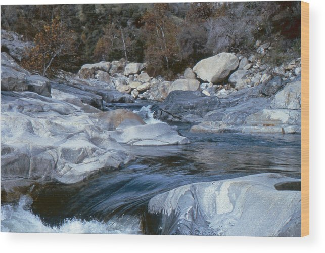 Water Wood Print featuring the photograph Stream Flowing Through The Rocks by Greg Plamp