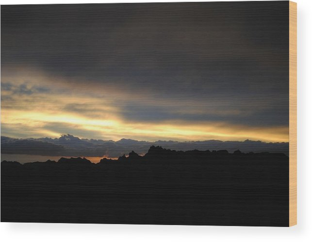 Badlands Wood Print featuring the photograph Sunset In Badlands by Rebecca Fowler