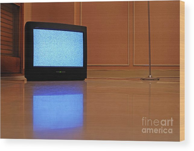 Reflective Wood Print featuring the photograph Television Displaying Static Reflected In Floor by Sami Sarkis