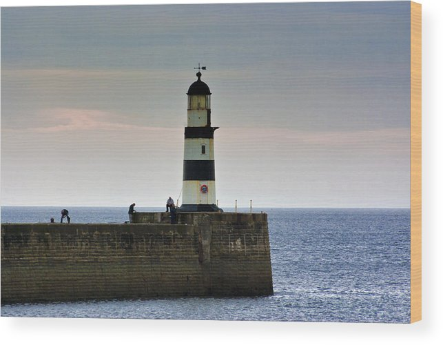 Seaham Wood Print featuring the photograph The Light Seaham Harbour by Trevor Kersley