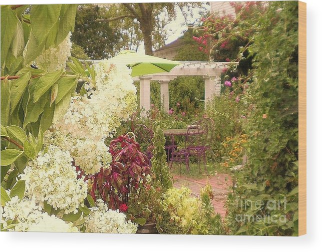 Landscape Garden Art Wood Print featuring the photograph Time 2 Relax by Diana Chason