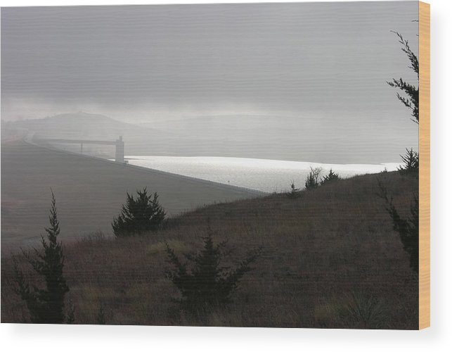 Kansas Wood Print featuring the photograph Wilson Lake In November Fog by Keith Stokes