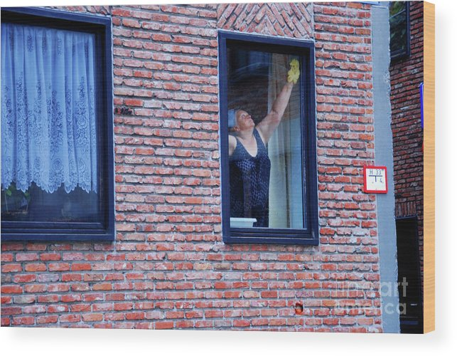 Woman Wood Print featuring the photograph Woman Window Cleaner by Andrea Simon