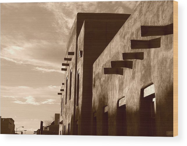 Architecture Wood Print featuring the photograph Adobe Sunset by Rob Hans