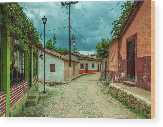 Landscape Wood Print featuring the photograph Copala Cobblestone Street by Javier Flores