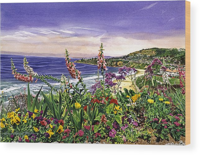 Flowers Wood Print featuring the painting Laguna Niguel Garden by David Lloyd Glover