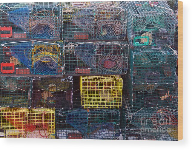 Linda Drown Wood Print featuring the photograph Lobster Traps by Linda Drown