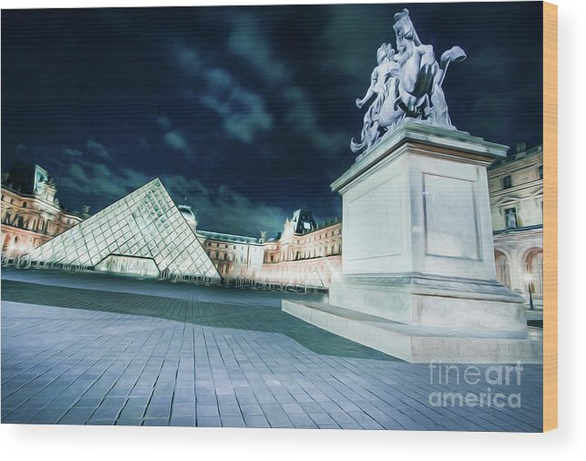 Paris Wood Print featuring the photograph Louvre Museum 6b Art by Alex Art and Photo