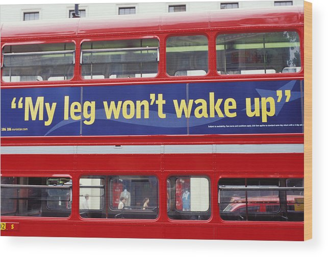 Red Bus Public Transport Transportation Service Whimsical Window Wood Print featuring the photograph My Leg Went To Sleep In London by Carl Purcell