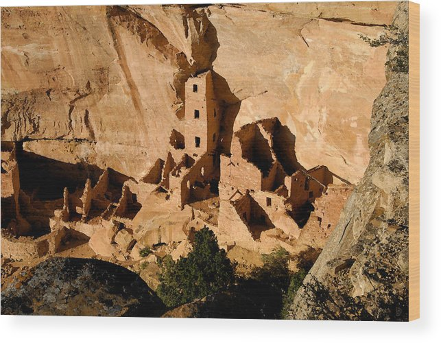 Square Tower Ruin Wood Print featuring the painting Square Tower Ruin by David Lee Thompson