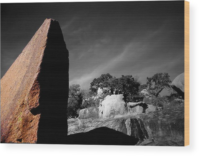 Landscapes Wood Print featuring the photograph Straight Edge Boulder Enchanted Rock Texas by Tom Fant